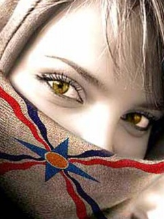 Assyrian flag over a young girl's face