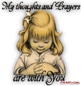 My Thoughts and Prayer are with you, young girl praying.