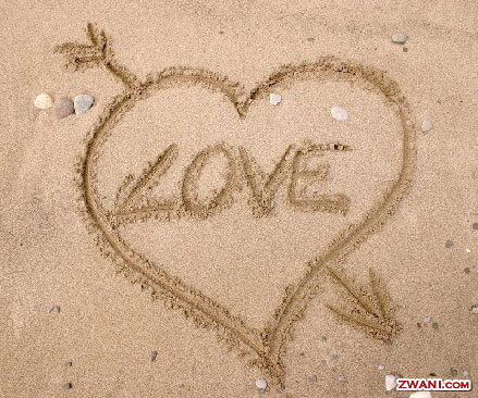 Love drawn heart in the sand