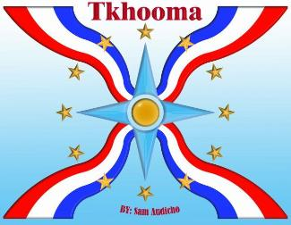 Assyrian flag with Tkhooma and gold stars by Sam Audicho