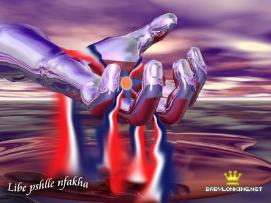 Assyrian flag in the palm of metallic hand, flowing into water