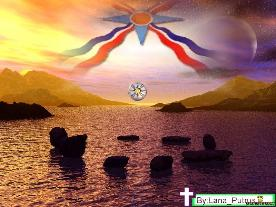 Assyrian flag in the clouds, at sunset, over a beach and mountains