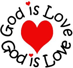 God Is Love arounf a red heart