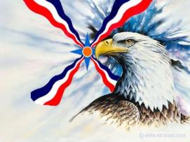 Assyrian flag behind an eagle