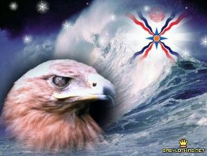 Assyrian flag inside a large wave with an eagle head at the frond