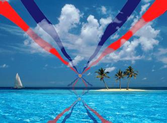 Assyrian flag on the horizon at a tropical beach