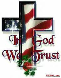 In God We trust, Cross with US flag cover