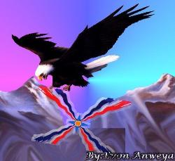Assyrian flag being lifted above a snow packed mountain range by an eagle